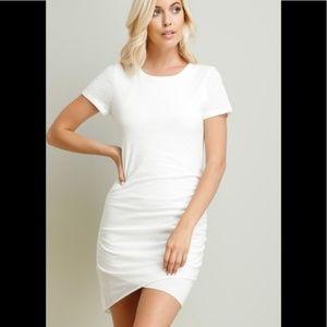 Wasabi + Mint White Ruched Tshirt Dress Cotton